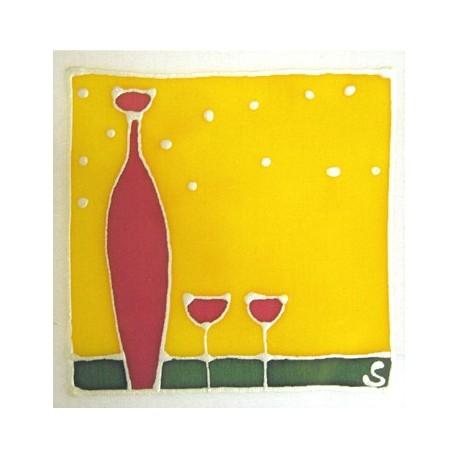 Carte postale soie carafe et verres