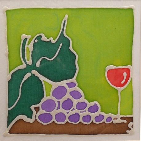 Carte postale soie grappe de raisinet verre