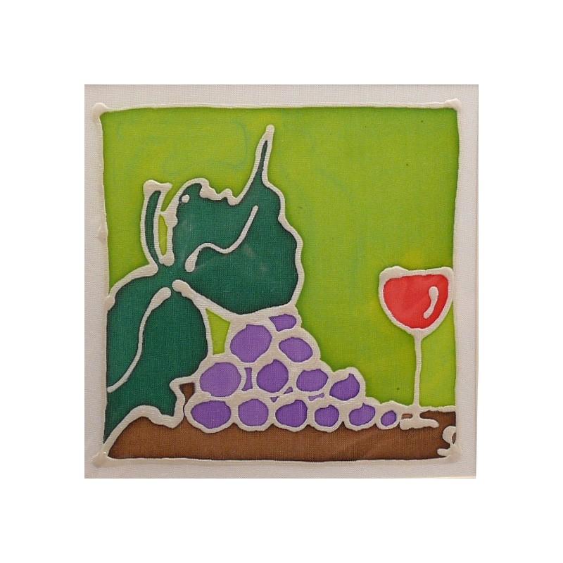 carte postale encadrement soie grappe raisinet verre. Black Bedroom Furniture Sets. Home Design Ideas