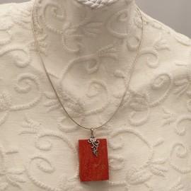 Collier fantaisie carré corail Argent