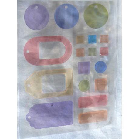 Stickers adhésifs bubble couleurs pastel
