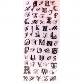 Transfert Rub-on adhésif alphabet majuscules noir