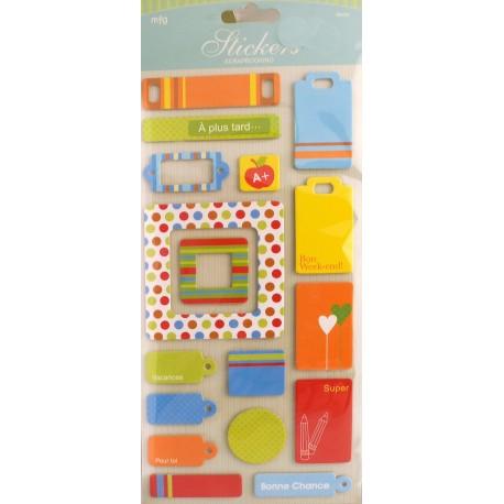 Stickers adhésifs tags couleurs vives