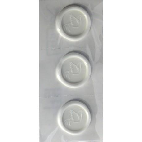 Stickers adhésifs cachet de cire et colombe blanche